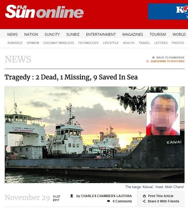 피지로 피난 간 은혜로교회 신도, 선박 전복 사고로 사망