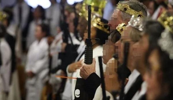 문형진 통일교, 반자동 소총 들고 합동결혼식