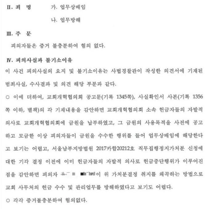 성락교회 김기동, 교개협 측 배임 사건으로 고소했지만 불기소 처분