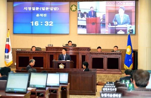 안산시 윤석진 의원 안산시장에게 신천지 만국회의 안산 와스타디움 대관한 책임 추궁